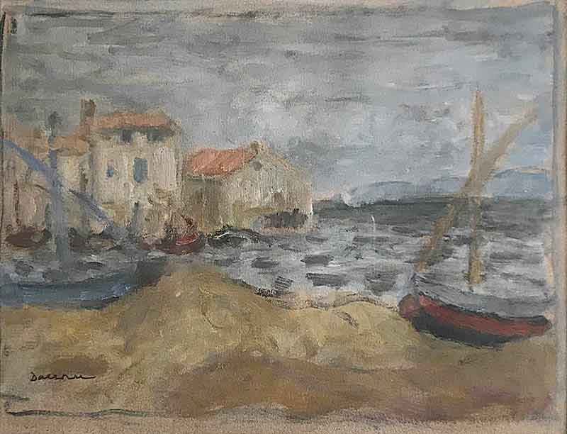 2 Barques à terre - Martiques 1927: Two boats on a beach with sea and buildings beneath a cloudy sky.