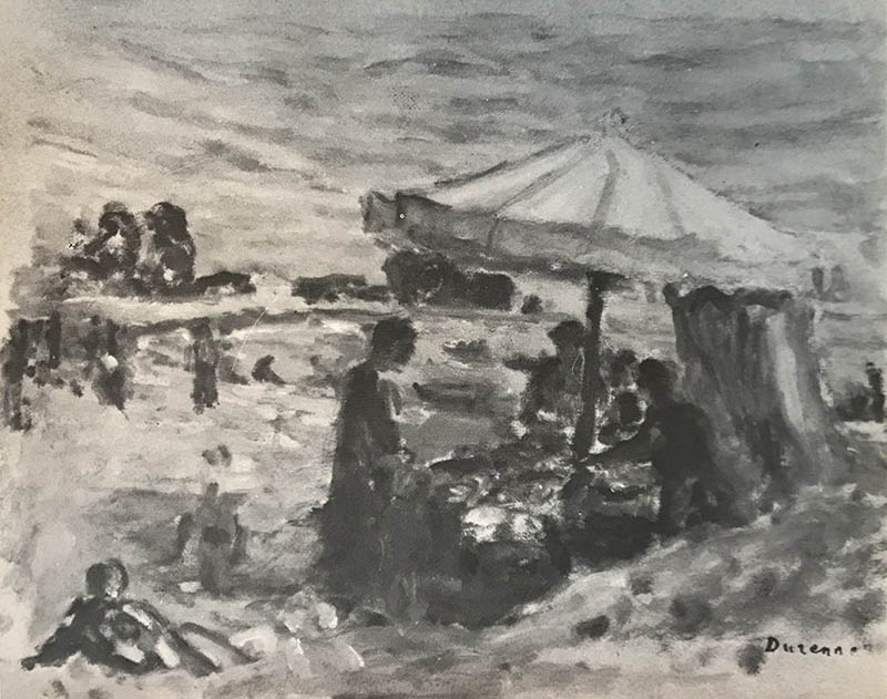 Figures seated on beach beneath a parasol.