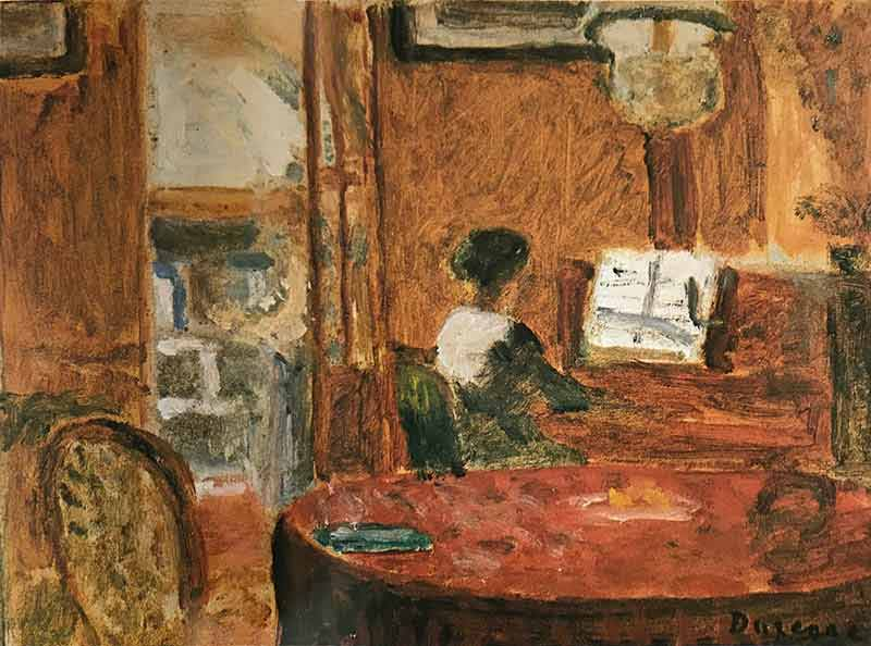 Woman in an interior, facing right, playing piano to the right of the painting. Table and chair to foreground with hanging light and open doorway leading to another room.