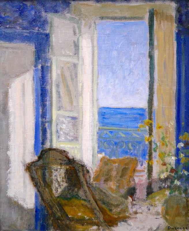 Seated woman viewing sea through open window. Vase of flowers to right foreground.