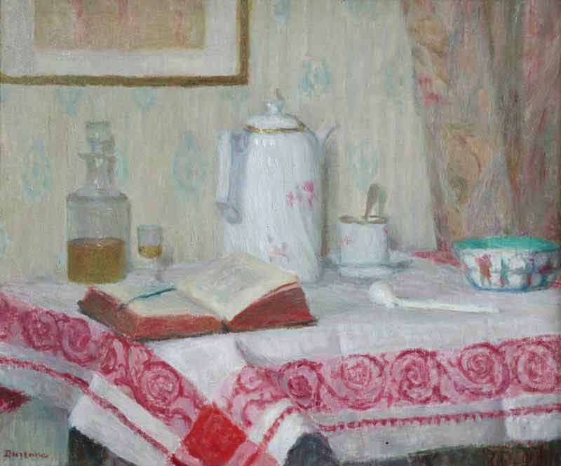 Still life of items on a table including a pipe, teapot, cup & saucer, book, bowl and decanter with glass, all upon a red and white tablecloth. Background of wallpaper, curtain and painting.