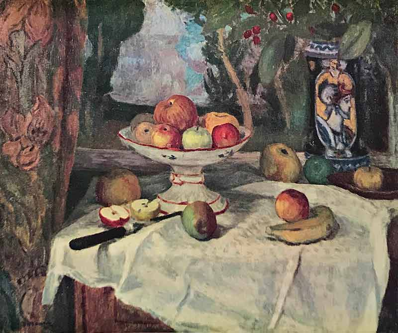Still life of tabe with apples and banana. Also on the table is a banana and vase with figure of Roman soldier.