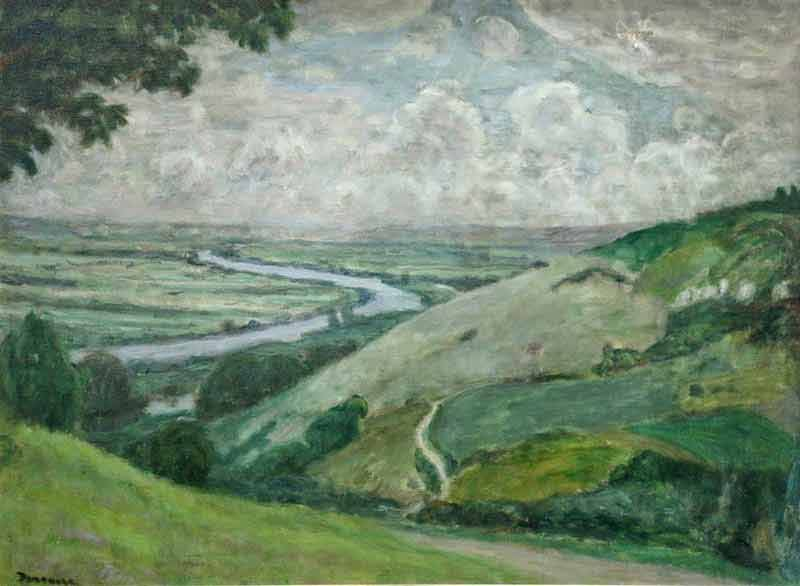Landscape painting of the Seine meandering through countryside of Heudebouville beneath a sky with clouds. Grass and footpath to foreground and tree to top left corner.